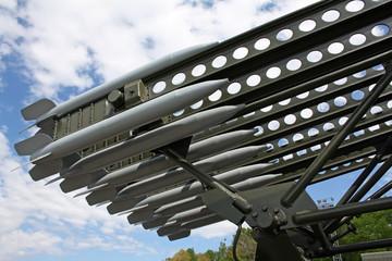 Rockets at Katyusha multiple rocket launcher at retro military exhibition