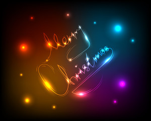 Merry Christmas neon glowing text black background