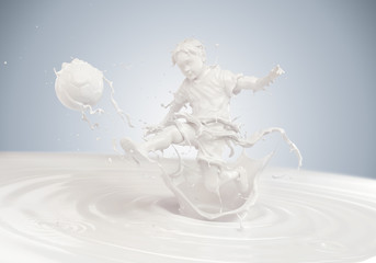 Splash of milk in form of Boy's body playing football