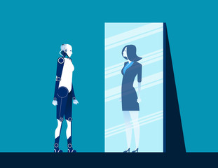 Robot standing and looking body in mirror of women reflection. Concept business vector illustration. Flat design style