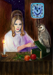 A fabulous Christmas story with an owl, a girl and a casket, Christmas balls and a candle. The wooden cladding of the walls and the magic clock on which midnight comes.
