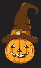 Halloween pumpkin in hat