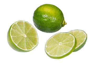 Whole and slices of juicy lime fruit