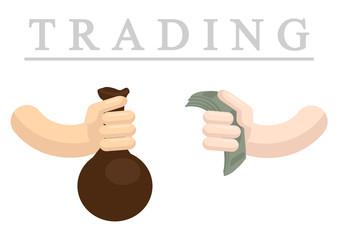 Trading flat vector illustration