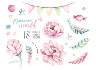 Set of watercolor boho floral elements. Foliage Watercolour bohemian natural frame: leaves, feathers, flowers, Isolated on white background. Artistic decoration illustration.