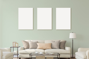 White isolated posters with black frame mockup