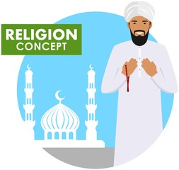 Prayer time. Religion concept. Muslim person with beads in hands pray standing on the background silhouette of mosque and minarets. Arabic man pray. Vector illustration.
