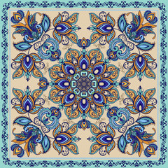 Beautiful vector pattern.Design can be used for Card, bandana print, kerchief design, napkin