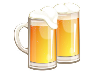 Light beer in glass mugs.