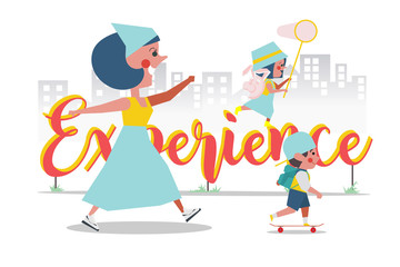 Experience Concept, Mother took her son and daughter out to play outside, Cartoon Character Design flat style
