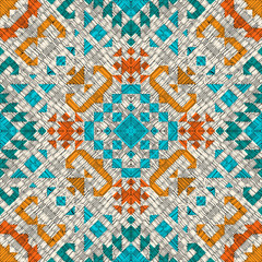 Tribal vector embroidery seamless pattern. Aztec fancy abstract geometric art print. Ethnic hipster backdrop. Wallpaper, cloth design, fabric, paper, cover, textile design template.