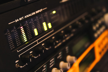input signal level on professional studio audio interface for music background