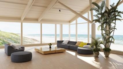 Luxuriöses Strandhaus oder Strandvilla mit Meerblick