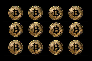 set of bitcoin coins, digital currency created for use in peer to peer online anonymous transactions, illustration on black background
