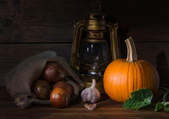 kerosene lamp with vegetables