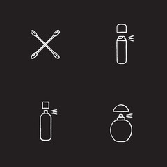 Women's hygienic products chalk icons set