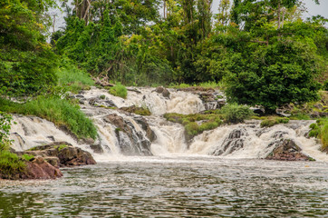 The famous Kribi water falls in Cameroon, Central Africa, one of the few waterfalls in the world to fall into the sea