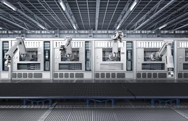 robotic machines with conveyor line
