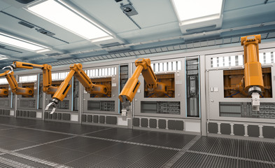 robotic machines with conveyor line