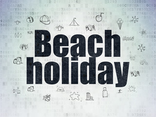 Tourism concept: Beach Holiday on Digital Data Paper background