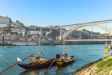 Porto oldtown wine port skyline with douro river and traditional Rabelo boat,Portugal
