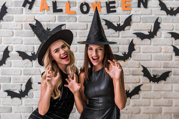 Girls ready for Halloween party Wall mural