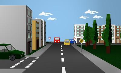 Straßenszene mit dem deutschen Verkehrsschild Vorfahrtsstraße beendet und Vorfahrt gewähren.