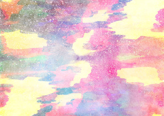 Watercolor bright hand painted background. Handmade aged paper texture. Grunge overlay for cards, invitations, web, clothing, textile, vintage poster, banner, scrapbook.