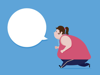 Fat woman jogging To lose weight And healthy body. vector  illustration