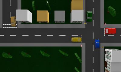 Straßenszene mit dem deutschen Verkehrsschild Vorfahrtsstraße und Vorfahrt gewähren. Ansicht von oben