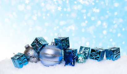 Christmas blue present in the snow