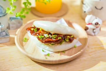 Korean style spicy pork stream bun