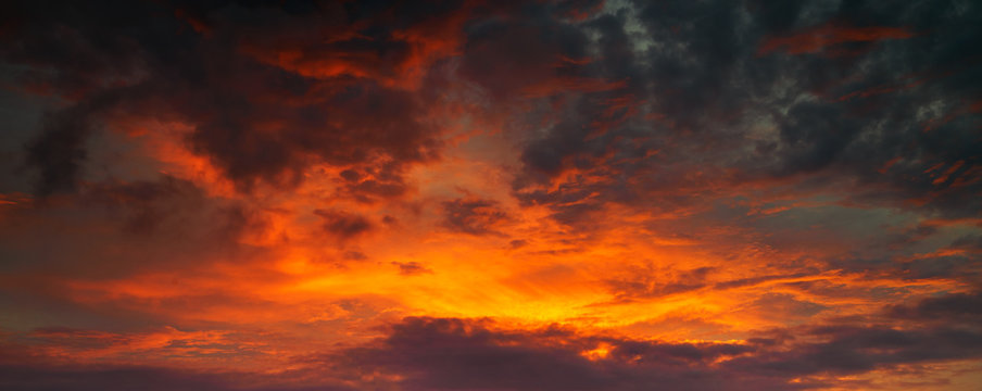 Panorama photo for Red and golden sky between sunset, use for background for your art work
