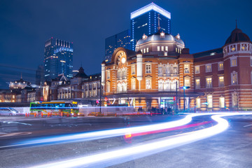 Tokyo railway station abstract light trials background.