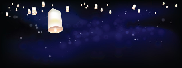 White Floating lanterns in dark night ceremony Thailand