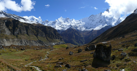 Panorama in Annapurna Base Came - Mount Machapuchare, Fishtail mountain