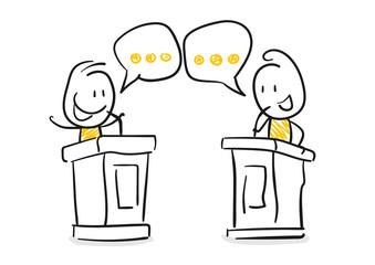 Strichfiguren / Strichmännchen: Podium, Diskussion, Politiker. (Nr. 99)