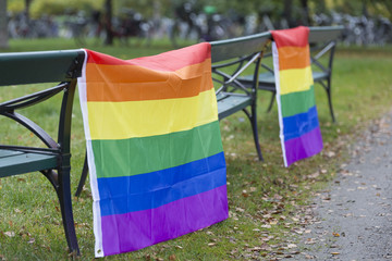 Rainbow Flags hanging on benches