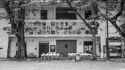 Chairs and building in Silpakorn University Thailand