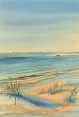 seaside watercolor landscape