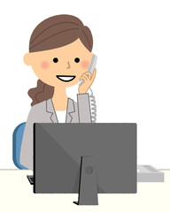 スーツの女性 PCと電話
