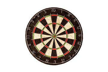 Empty dart board on a white background