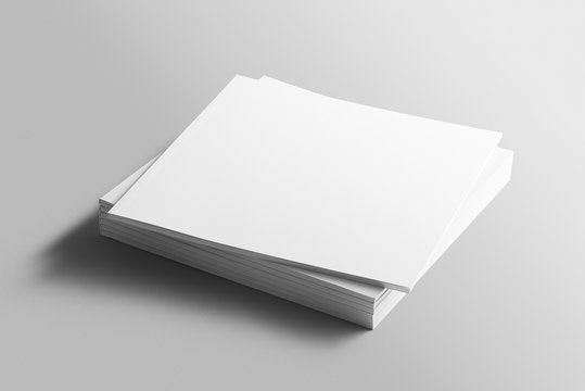 Blank square photorealistic brochure mockup on light grey background.
