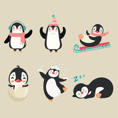 Collection of cartoon penguin.