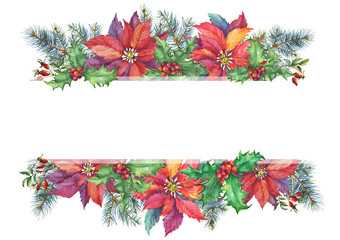 Banner with a Christmas tree, holly, poinsettia. Christmas decoration - greeting card, invitation. New Year. Watercolor hand painting illustration isolated on white background.