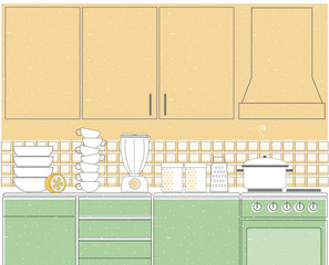 Kitchen interior background illustration