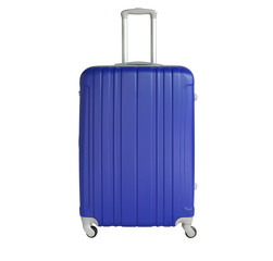 Blue suitcase isolated on white background. Polycarbonate suitcase isolated on white. Blue suitcase.