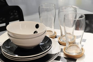 Set of Ceramic Plates with Bowls and Glass