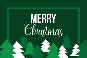 Wall Mural - Merry Christmas Postcard with Green Pine Trees Over Green Background