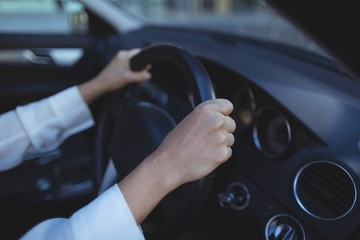 Cropped image of businesswoman in car